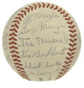 Autographs:Baseballs, 1947 St. Louis Cardinals Team Signed Baseball. In the second year of his reign as skipper of the St. Louis Cardinals Eddie ...