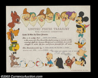 Disney War Finance Committee Certificate.A second example, equally as nice