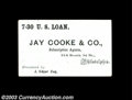 Miscellaneous:Other, Jay Cooke & Co. Advertising Card. A Philadelphia ...