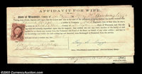 Wisconsin Civil War Affidavit for Wife Attached to a notarized Aid to Volunteers form, attesting that the husband was a...