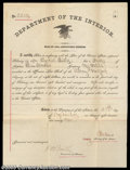 Miscellaneous:Other, Interior Department War of 1812 Document Signed by Columbus ...