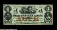 """Clifton, C.W.- Bank of Western Canada $4 Sept. 20, 1859 Ch. 795-10-12 A beautiful example with the stamp """"N'Y""""..."""