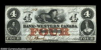 Clifton, C.W.- Bank of Western Canada $4 Sept. 20, 1859 Ch. 795-10-12 A beautiful Uncirculated example
