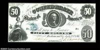 T8 $50 1861. This Choice Crisp Uncirculated example ranks among the finest examples of this type that this cataloger has...