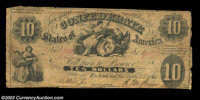 T10 $10 1861. Nearly always encountered well worn or even damaged, this early type is one of the more difficult designs...