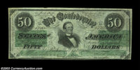 T16 $50 1861. Attractive Very Fine Jefferson Davis fifty