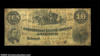 T23 $10 1861. An out and out rarity in all grades, this Leggett, Keatinge & Ball printed type is usually one of the...