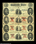 Confederate Notes:1861 Issues, T25 and T26 $10 1861 Variety Set. Four notes, one T25 and ... (4 notes)