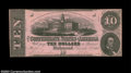 Confederate Notes:1862 Issues, T52 $10 1862. A solitary pinhole at right keeps this fancy ...