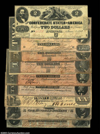 Confederate Grouping. T18 $20 1861 Very Fine T41 $100 1862 Choice About Uncirculated T42 $2 1862 Very Fine T65 $100 1864...