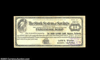 Modesto, CA - Latz's Trustee 1¢, 2¢, 3¢, 4¢ Stork System of Savings Scrip A nice group of scarcer Ca...