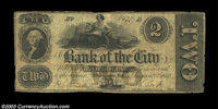 Washington, DC- Bank of the City $2 Aug. 28, 1852 G4a A very rare note from a bank which had a brief and obscure existen...