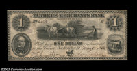 Washington, DC - Farmers & Merchants Bank $1 May 6, 1852 G12 A nice example with three light folds, a scarce issue i...