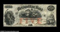 Washington, D.C. - Metropolitan Bank $5 Feb. 3, 1854 G8a A particularly attractive note with a red denominational overpr...