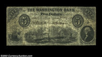 Washington, DC - The Washington Bank $5 Nov. 1, 1854 G6 A very nice note from this bank that Haxby calls a fraudulent, p...