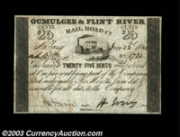 Albany, GA- Ocmulgee & Flint River Rail Road Co. 25¢ Dec. 22, 1841 A very high grade example from this railroad...