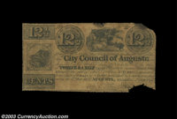 Augusta, GA- City Council of Augusta 12 1/2¢ Sept. 1, 1837 Well circulated Very Good, missing a couple of small pie...