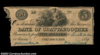 Columbus, GA- The Farmers Bank of Chattahoochee $5 1839 G6 An excessively rare note, even in this condition. Good, trim...