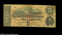 Chicago, IL- Gunther's Candy Ad Note A short ad message printed on the back of a legitimate Confederate $5 T69 which sta...