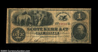 Leavenworth, KS- Scott, Kerr & Co. $1 June 1, 1862 Whitfield 323 An exceptionally rare Kansas note from pioneer bank...