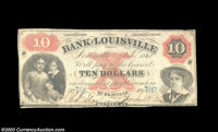 Burksville, KY - Bank of Louisville $10 C44, two examples Two notes, both counterfeits of the Burksville brank of this L...