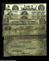 Boston, MA - Atlantic Bank A varied group of note on this bank, including: $1 Aug. 1, 1841 C8 Fine+ $1 1859 S5 VG, repai...