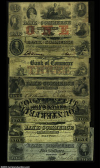 Boston, MA - Bank of Commerce $1 June 6, 1856 A10 Fine; $3 Aug. 25, 1860 A25 Fine; $3 July 1, 1856 S10 VF; $5 Apr. 10, 1...