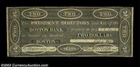 Boston, MA- The Boston Bank $2 Oct. 9, 1827 S10 A high grade example of this scarcer spurious note. Very Fine+