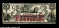 Boston, MA- The Boston Bank $3 June 1, 1860 G58b A very rare three with an exceptionally vivid red protector overprint...