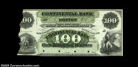 Boston, MA- The Continental Bank $100 G16a Proof Impaired but very rare, this likely the Haxby plate piece. Uncirculated...