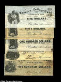 Boston, MA- Cromer's College Bank $5, $50, $100 (2), $500 Schingoethe MA120-5, 50, 100A, 100B, 500 Five pieces, the $5 U...