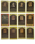 Autographs:Cut-outs, Signed Gold Hall of Fame Plaques Lot of 10. This slick group of 10Hall of Fame plaque postcards includes the signatures of...