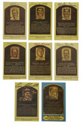 Autographs:Cut-outs, Signed Gold Hall of Fame Plaques Lot of 8. A total of eight of Cooperstown's elect have deposited their Hall of Fame signat...