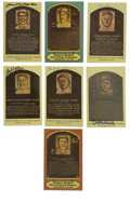 Autographs:Cut-outs, Signed Gold Hall of Fame Plaques Lot of 6. Collection of a half dozen signed Hall of Fame plaque postcards featuring such Co...