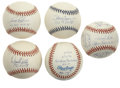 Autographs:Baseballs, 1998 New York Yankees Signed Baseball Collection Lot of 5.Brilliant collection of five baseballs has as its focus the 1998...