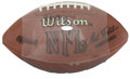 Football Collectibles:Balls, Phil Simms Single Signed Football. While his selection in the first round of the 1979 NFL Draft left many Giants fans upset...