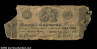 Batavia, NY - Bank of Genesee $1 Sept. 1, 1833 UNL This unlisted design, likely a counterfeit, is the frst that we have...