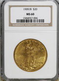 Saint-Gaudens Double Eagles: , 1909/8 $20 MS60 NGC. . NGC Census: (66/831). PCGS Population(68/1526). Mintage: 161,282. Numismedia Wsl. Price for NGC...