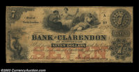 Fayetteville, NC - Bank of Clarendon $7 Aug. 1, 1855 G5a A much scarcer odd denomination note, fully signed and issued a...