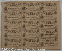 Raleigh, NC- State of North Carolina 25¢ Jan. 1, 1863 Cr. 104A Uncut Sheet of 15 Common notes, but hardly common in...