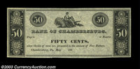 Chambersburg, PA - Bank of Chambersburg 50¢ May ___, 183__ Hoober UNL An unissued scrip piece redeemable when prese...