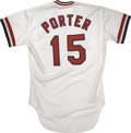 Baseball Collectibles:Uniforms, 1984 Darrell Porter Game Used Jersey. An exceptional talent on thediamond most notably admired for his intense demeanor, D...