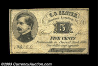 Bartons Landing, VT- C.S. Seaver 5¢, 10¢, 25¢ Coulter 1, 2, 3 Three pieces of this very scarce scrip, all...