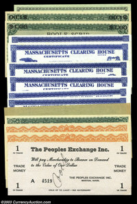 Boston, Massachusetts Depression Scrip. A colorful lot of Boston Depression Scrip, 14 notes from five different issuers...