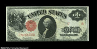 Fr. 36 $1 1917 Legal Tender, Choice-Gem Crisp Uncirculated. A fantastic Large Size error on which most of the right seri...