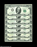 Error Notes:Blank Reverse (<100%), Fr. 2023-L $10 1977 Federal Reserve Notes. Choice Crisp ... (7notes)