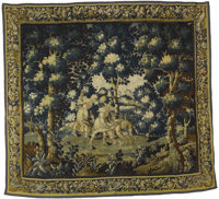 Aubusson Tapestry  18th Century  9.4 feet x 10.4 feet  A delightful vignette of the bucolic pleasures of country life...