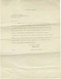 """Autographs:Inventors, Albert Einstein Typed Letter Signed """"A. Einstein"""", one page on embossed letterhead, 8.5"""" x 11"""", Princeton, New Jersey, ..."""