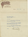 Autographs:Letters, 1913 Charles Comiskey Signed Letter. The scandal of the 1919 WorldSeries was so devastating for this Hall of Fame executiv...