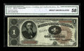Fr. 347 $1 1890 Treasury Note CGA About Uncirculated 58. A very nicely margined 1890 Treasury Ace with bold color, and g...